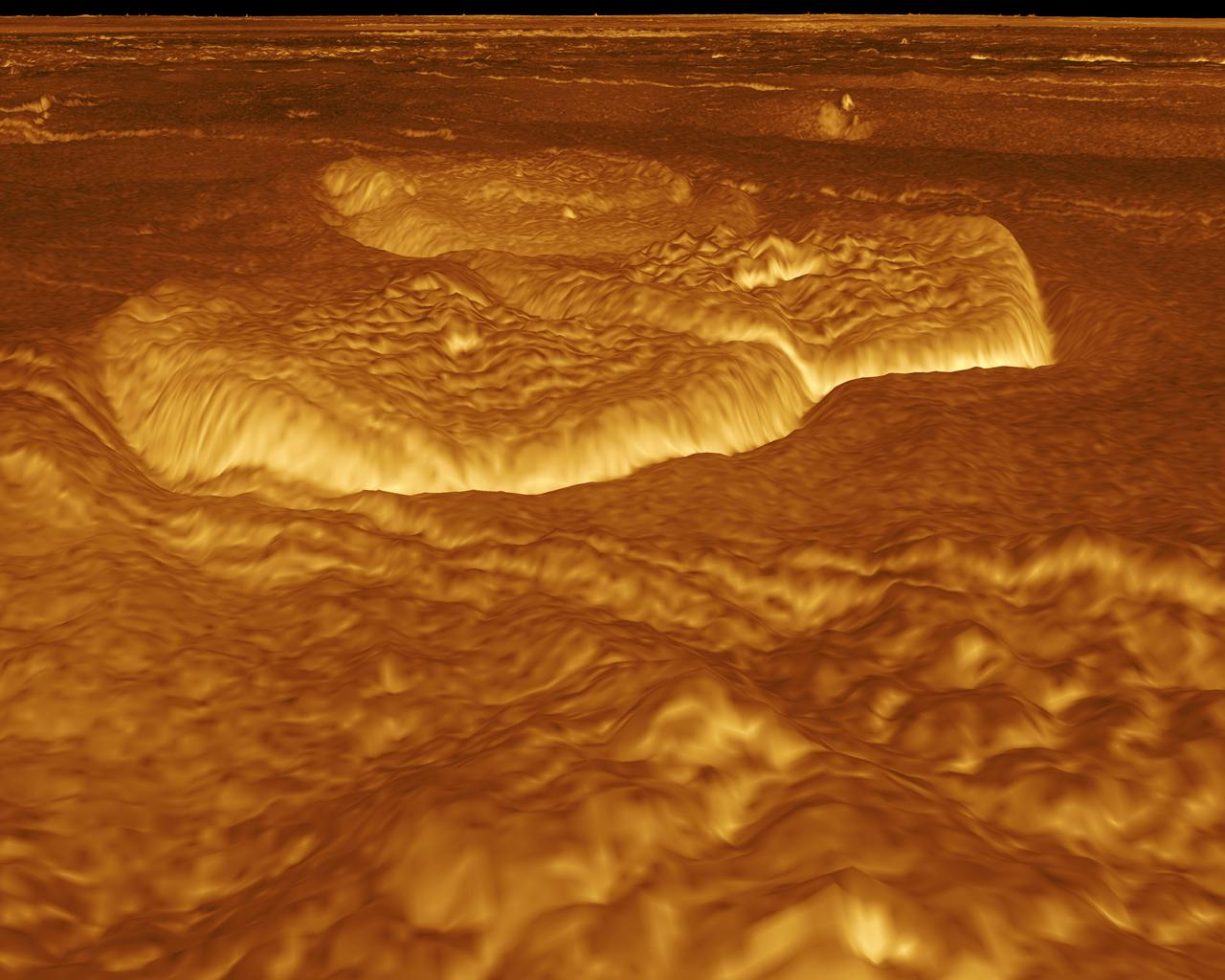 A portion of the eastern edge of Alpha Regio is displayed in this three-dimensional perspective view of the surface of Venus from NASA's Magellan spacecraft.