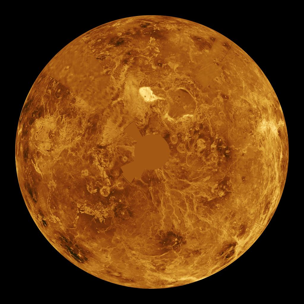 The northern hemisphere is displayed in this global view of the surface of Venus. NASA's Magellan synthetic aperture radar mosaics from the first cycle of Magellan mapping were mapped onto a computer-simulated globe to create this image.