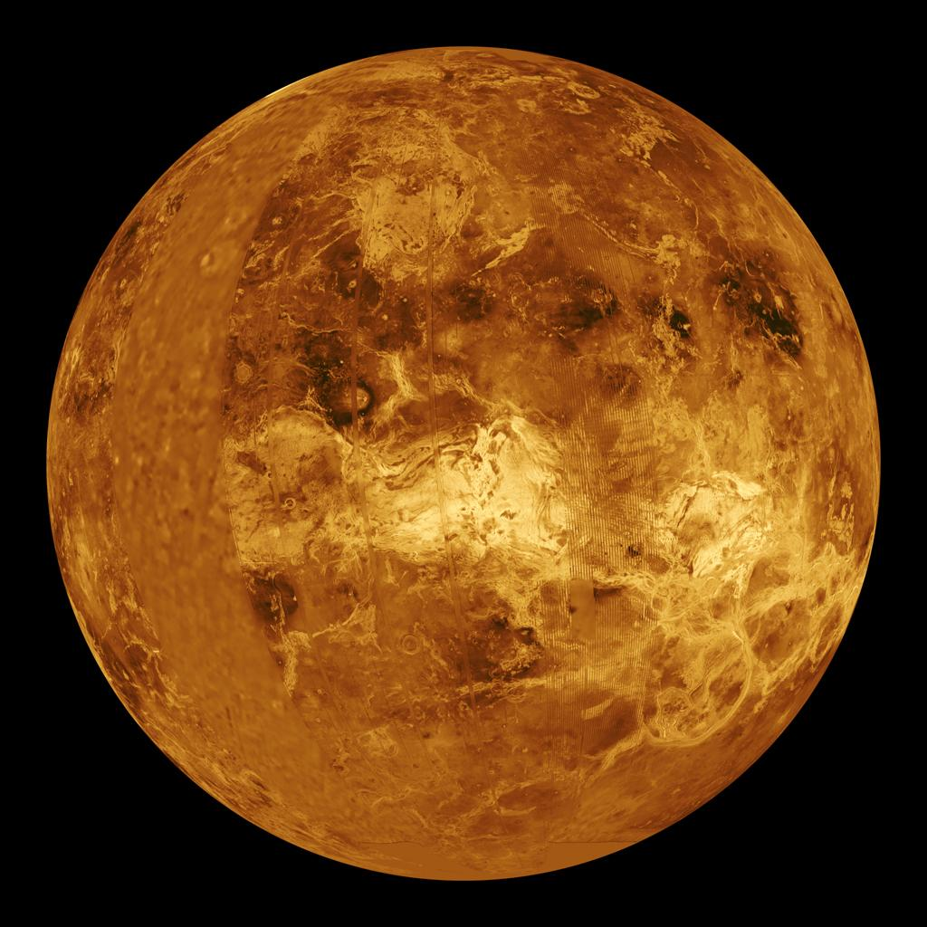 The northern hemisphere is displayed in this global view of the surface of Venus as seen by NASA's Magellan spacecraft.