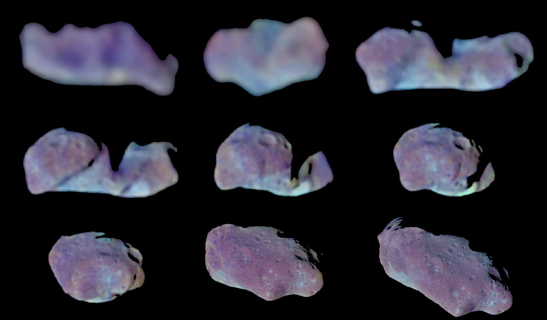 This set of color images of asteroid 243 Ida was taken by the imaging system on NASA's Galileo spacecraft as it approached and raced past the asteroid on August 28, 1993.