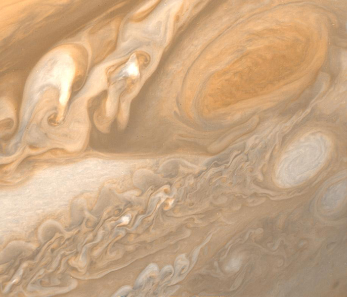 This photo of Jupiter was taken by NASA's Voyager 1 on March 1, 1979. The photo shows Jupiter's Great Red Spot (upper right) and the turbulent region immediately to the west.