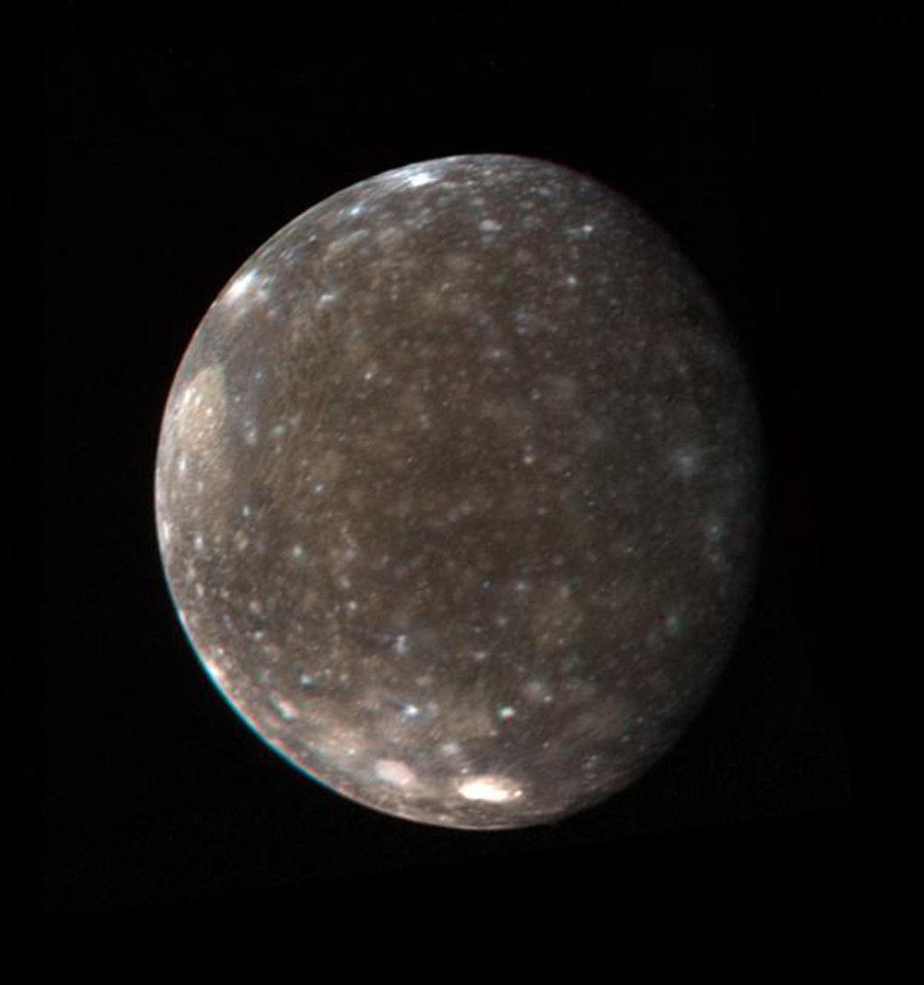 This color photo of Jupiter's satellite Callisto was made from three black-and-white images taken by NASA's Voyager March 5, 1979 from a distance of 746,000 miles (1.2 million kilometers).