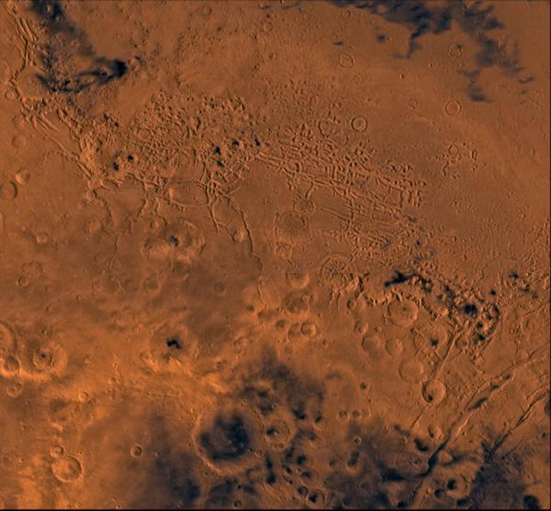Nilosyrtis Mensae region of Mars containing the impact craters Antoniadi and Baldet (south to north) in the lower left corner; north toward top, as seen by NASA's Viking spacecraft.