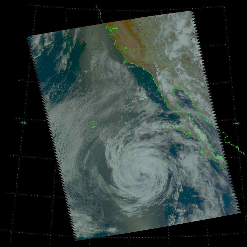 Tropical Storm Blas as observed by the Atmospheric Infrared Sounder (AIRS) onboard NASA's Aqua in the year 2004.