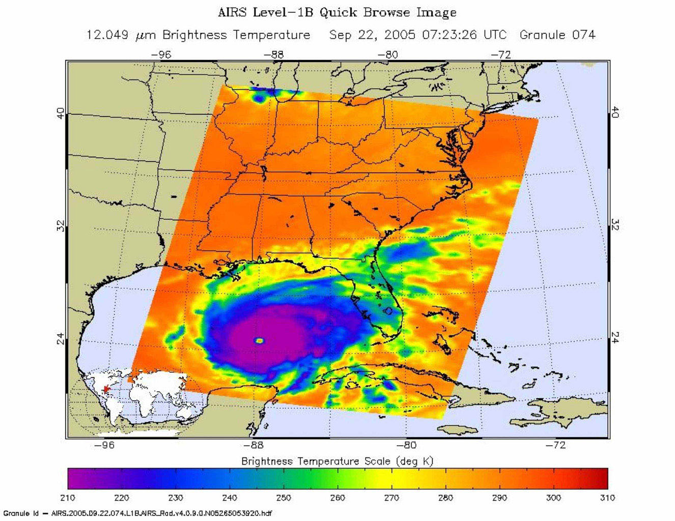 In September, 2005, Rita was a category 5 hurricane with sustained winds of 150 mph and a central pressure of 897 millibar when positioned approximately 470 southeast of Galveston, Texas.