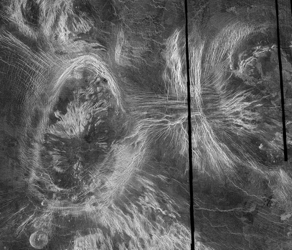 This mosaic of NASA's Magellan data in the Fortuna region of Venus. Shown here are Bahet Corona on the left, Onatah Corona on the right. Coronae are thought to form due to the upwelling of hot material from deep in the interior of Venus.
