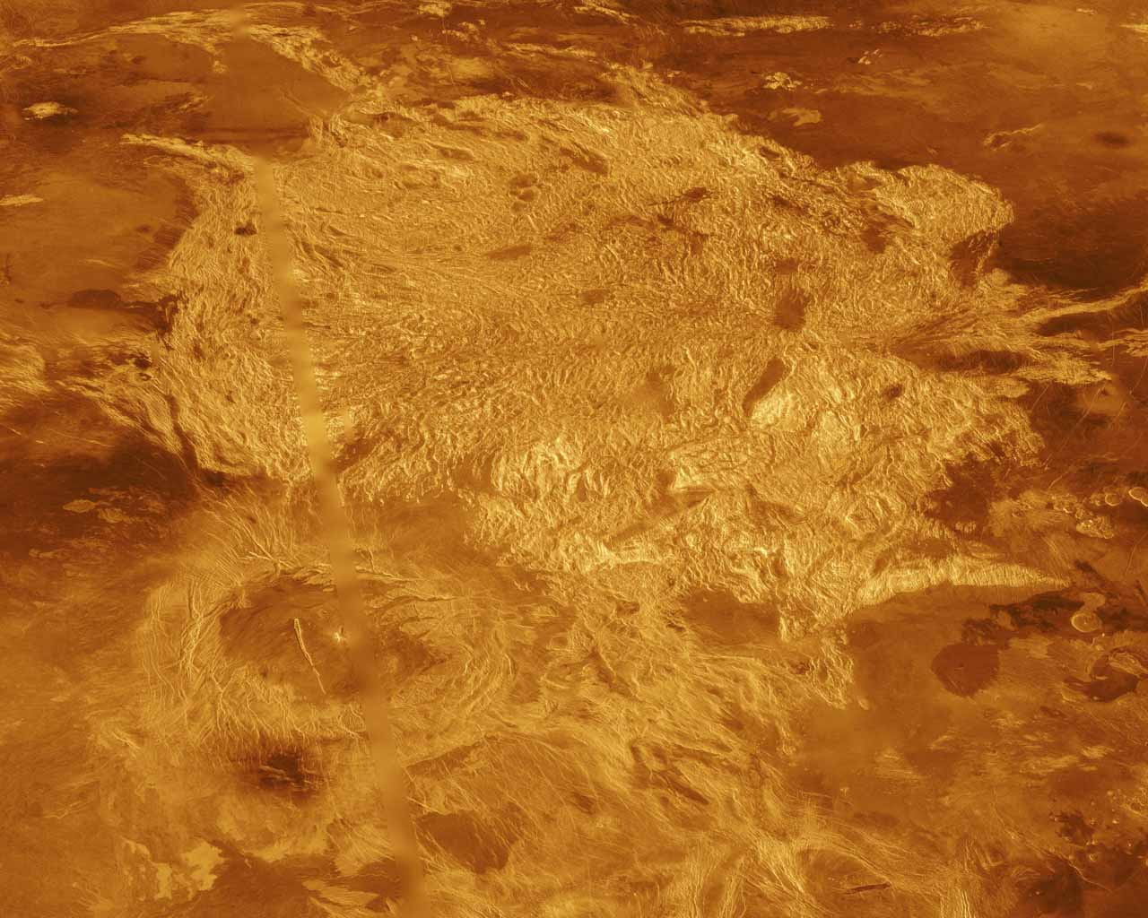A portion of Alpha Regio is displayed in this three-dimensional perspective view of the surface of Venus from NASA's Magellan spacecraft. In 1963, Alpha Regio was the first feature on Venus to be identified from Earth-based radar.