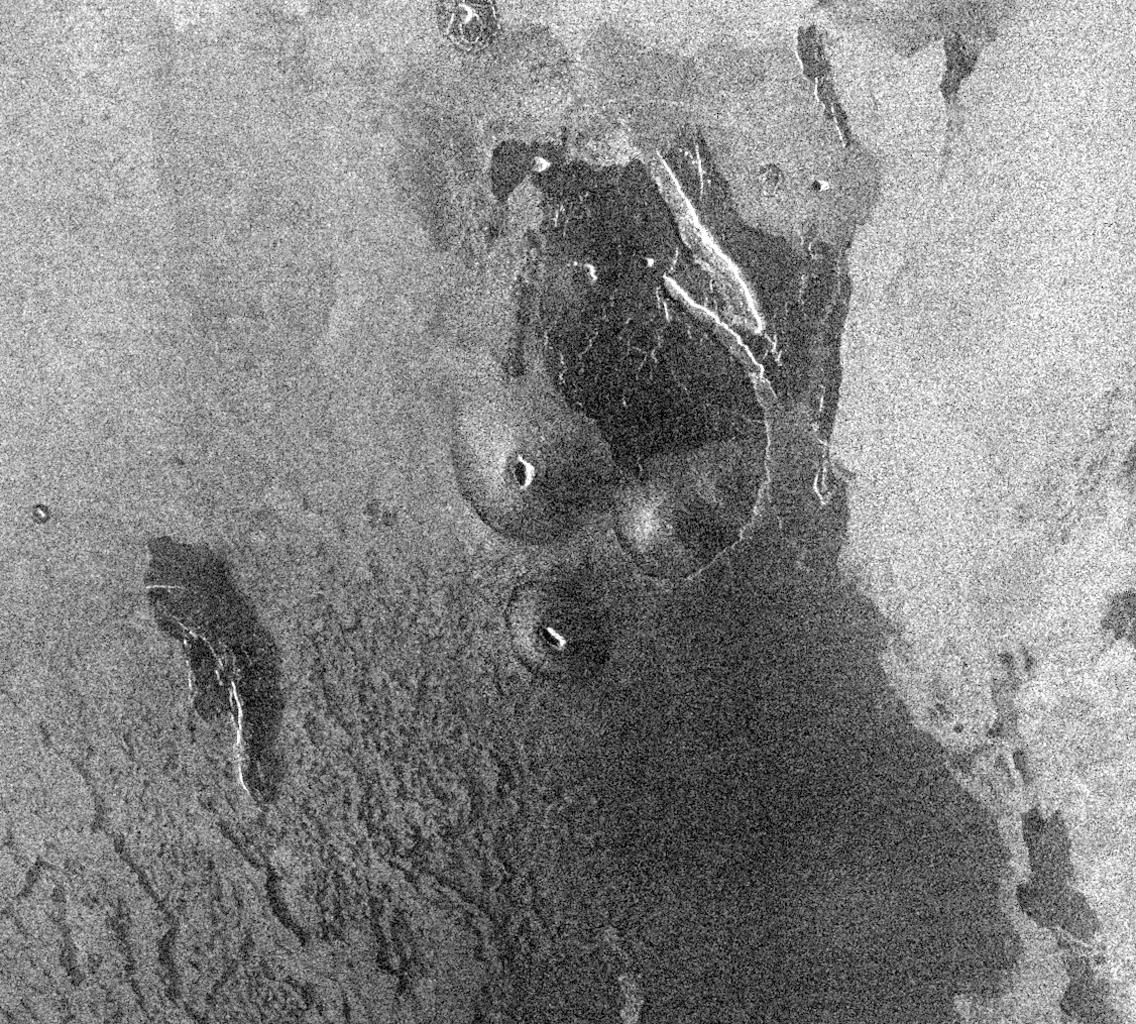 This image from NASA's Magellan spacecraft is from the eastern Ovda region of Venus. The image shows some small volcanic domes on the flank of the volcano Maat.