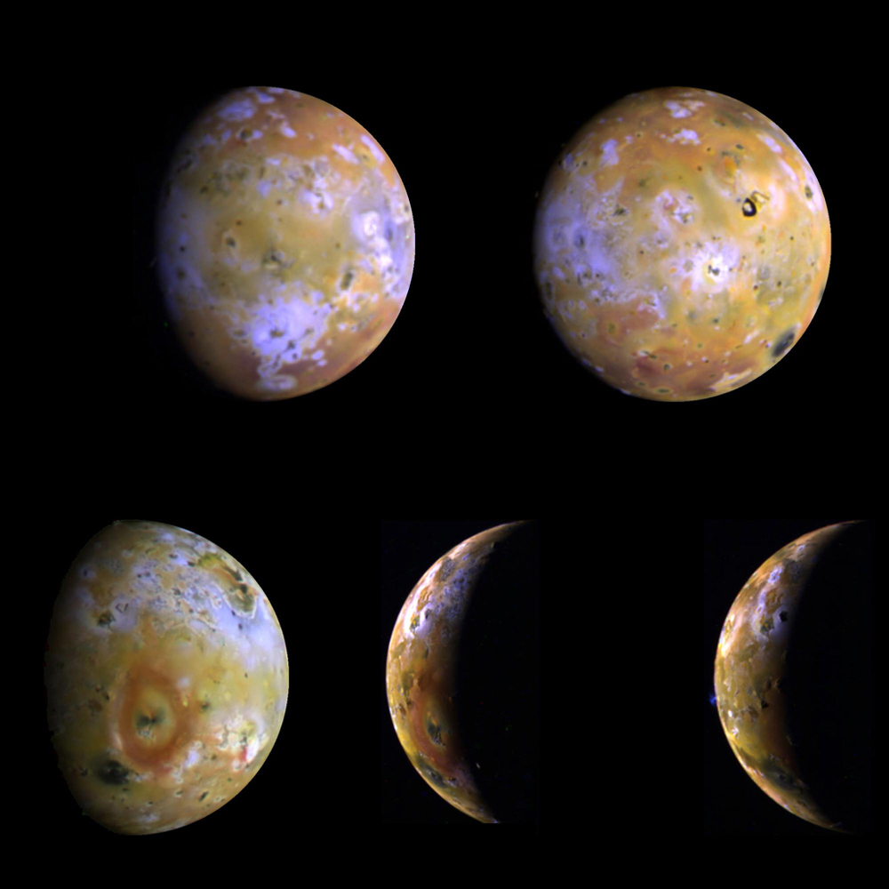 Five color views of Jupiter's moon Io, as seen by NASA's Galileo spacecraft camera, were taken between the 25th and the 29th of June, 1996.