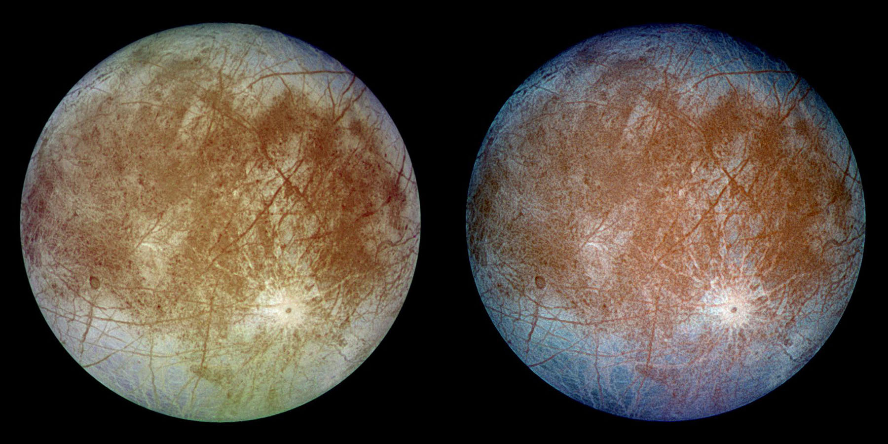 This image, taken on September 7, 1996 by NASA's Galileo orbiter, shows two views of the trailing hemisphere of Jupiter's ice-covered satellite, Europa. Europa is about 3,160 kilometers (1,950 miles) in diameter, or about the size of Earth's moon.