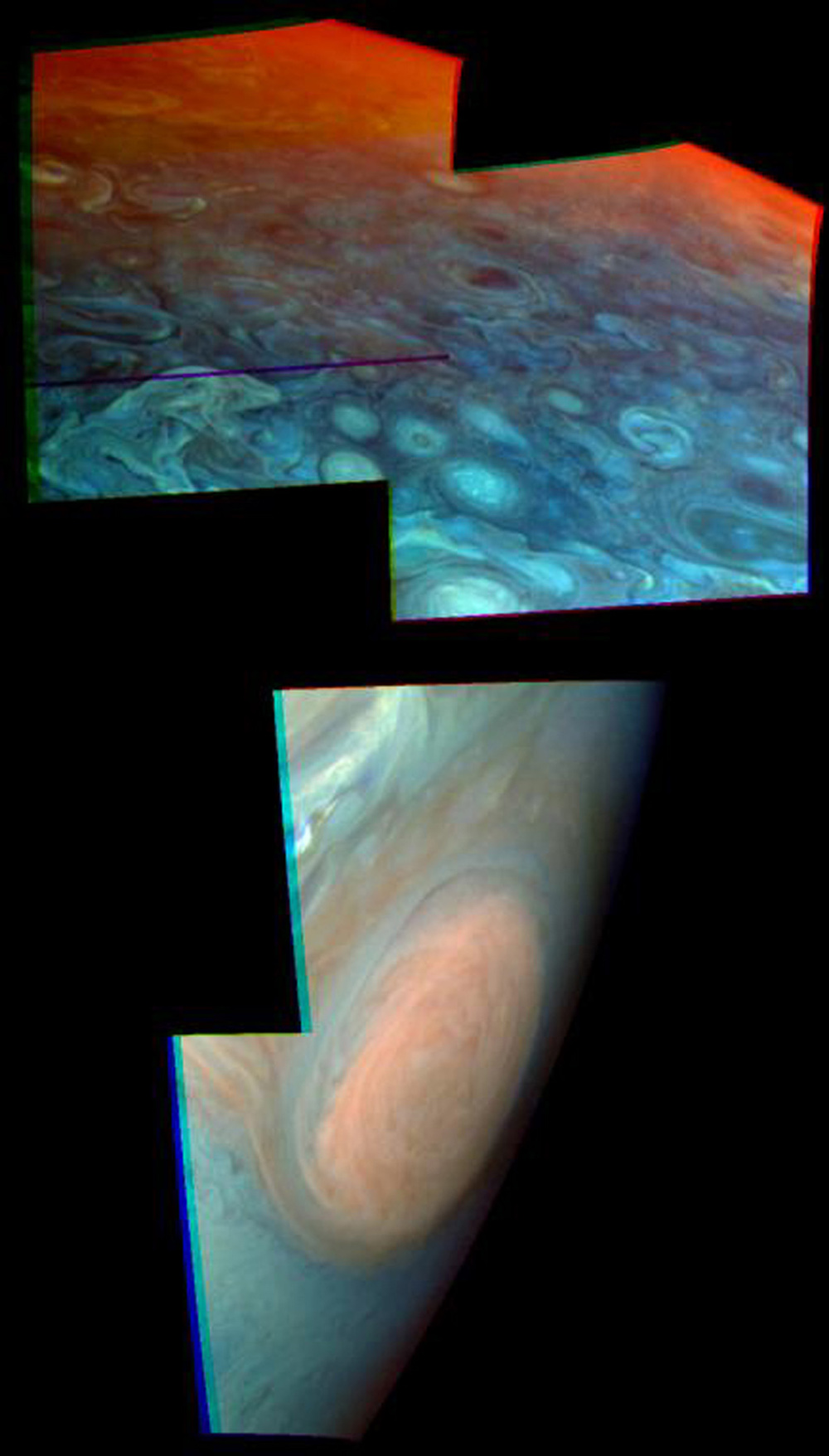These two views of Jupiter obtained by NASA's Galileo spacecraft show evidence of strikingly different stratospheric hazes between the polar regions and low or mid latitudes. The Great Red Spot shows in one mosaic taken on June 26, 1996.