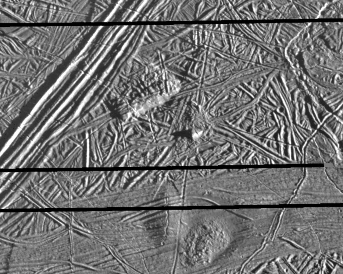 This picture of Europa, a moon of Jupiter, was obtained on February 20, 1997, by the Solid State Imaging system onboard NASA's Galileo spacecraft during its sixth orbit around Jupiter.