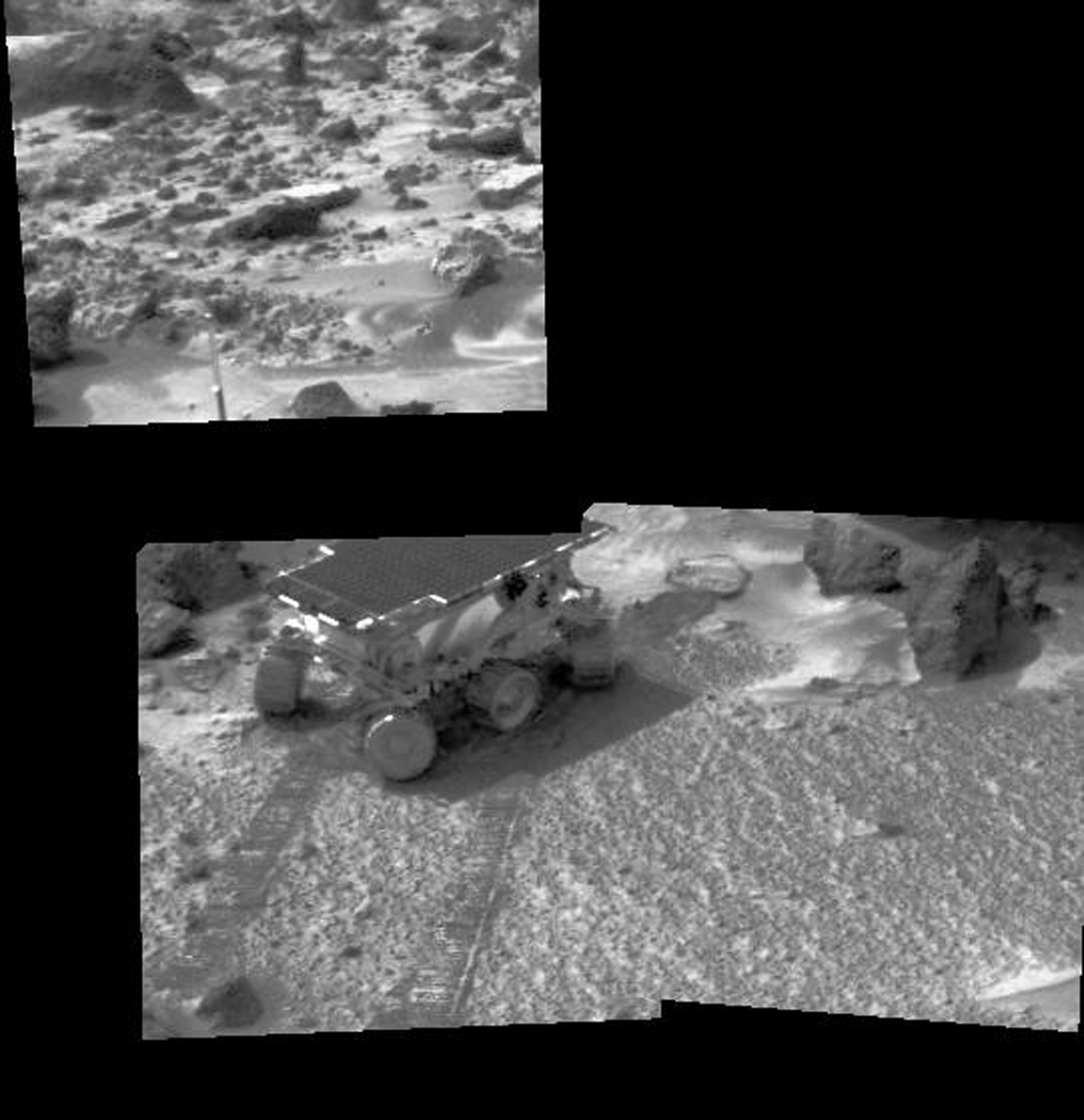 NASA's Mars rover Sojourner is seen here using its Alpha Proton X-Ray Spectrometer (APXS) instrument in a study of the Martian soil. The upper image is of rocky terrain and a portion of Sojourner's antenna.