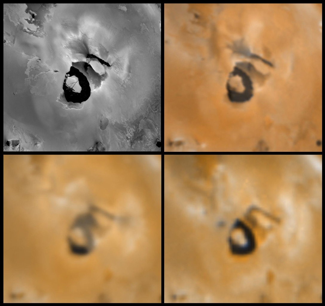 Four views of the volcano Loki Patera on Jupiter's moon Io showing changes seen on June 27th, 1996 by NASA's Galileo spacecraft as compared to views seen by the Voyager spacecraft during the 1979 flybys.