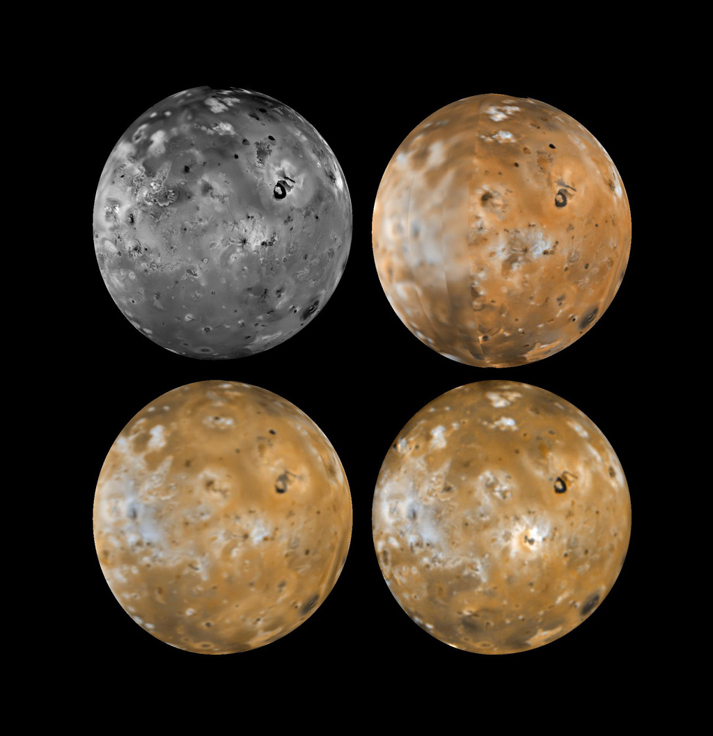 Four views of the hemisphere of Io which faces Jupiter showing changes seen on June 27th, 1996 by NASA's Galileo spacecraft as compared to views seen by the Voyager spacecraft during the 1979 flybys.