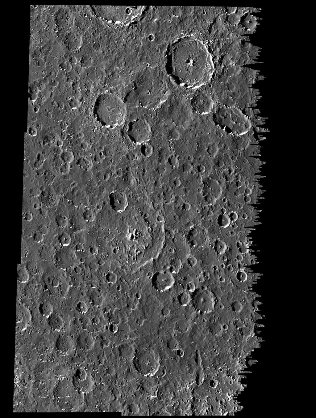 This mosaic covers part of the equatorial region of Jupiter's moon, Callisto. The mosaic combines six separate image frames obtained by the solid state imaging (CCD) system on NASA's Galileo spacecraft during its ninth orbit around Jupiter.