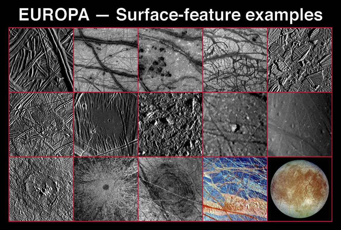 Space Images | Various Landscapes and Features on Europa