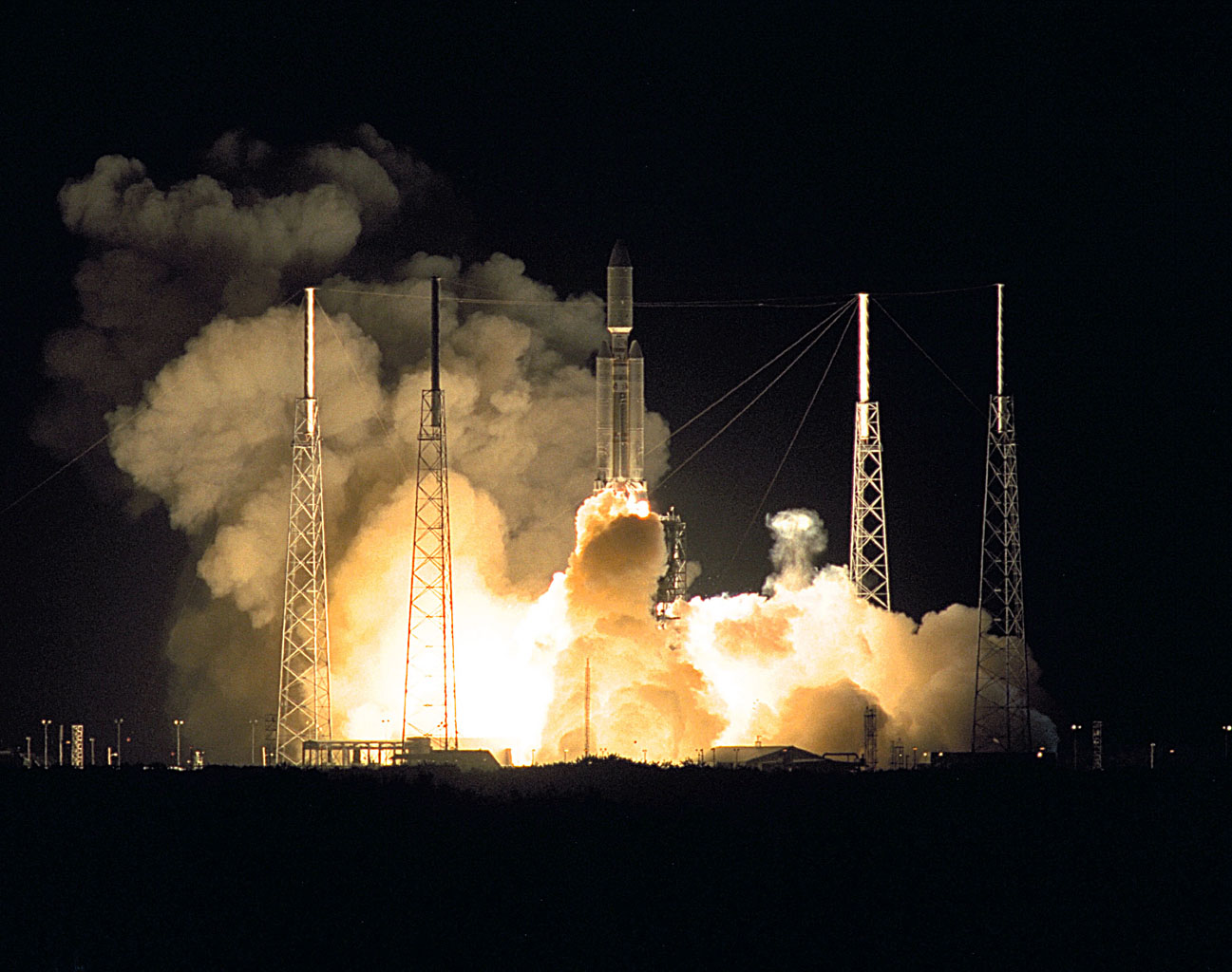 A seven-year journey to the ringed planet Saturn began on Oct. 15, 1997 with the liftoff of a Titan IVB/Centaur carrying NASA's Cassini orbiter and its attached Huygens probe