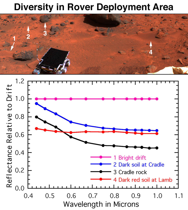 Mars is characterized by similar color variations. The surface near NASA's Mars Pathfinder's egress from the lander contains bright red drift, dark gray rocks, soil intermediate in color to the rocks and drift, and dark red soil on and around the rock.