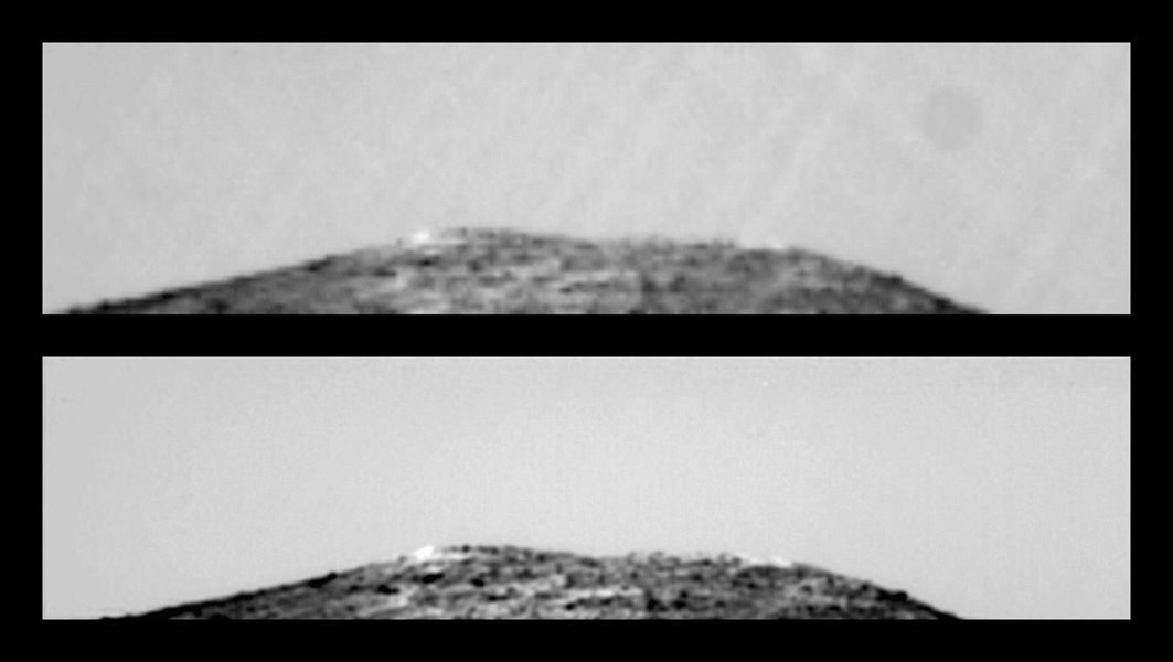This pair of images shows the result of taking a sequence of 25 identical exposures from NASA's Imager for Mars Pathfinder (IMP) of the northern Twin Peak, with small camera motions. Sol 1 began on July 4, 1997.