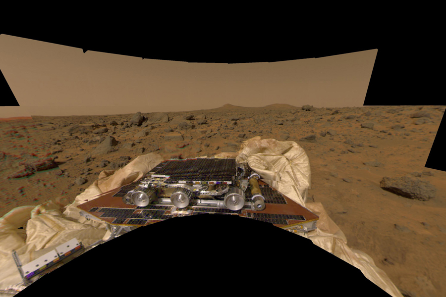 This image features a different perspective of one of the first pictures taken by NASA's Imager for Mars Pathfinder (IMP) lander shortly after its touchdown at 10:07 AM Pacific Daylight Time on July 4. Sol 1 began on July 4, 1997.