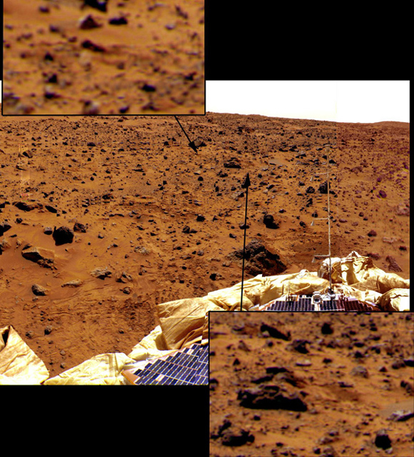 Looking east from the lander, the last few bounce marks as Pathfinder rolled to a stop on July 4 are visible in the soil in this image, taken by NASA's Imager for Mars Pathfinder (IMP). Sol 1 began on July 4, 1997.
