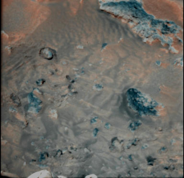 This false-color combination image highlights details of wind effects on the Martian soil at NASA's Pathfinder landing site. Red and blue filter images have been combined to enhance brightness contrasts among several soil units.