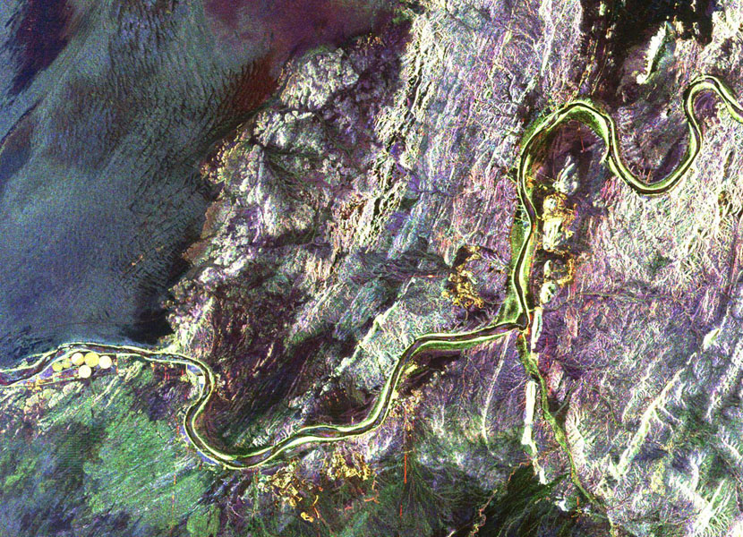 This radar image shows a close up view of a portion of the Richtersveld National Park and Orange River (top of image) in the Northern Cape Province of the Republic of South Africa.