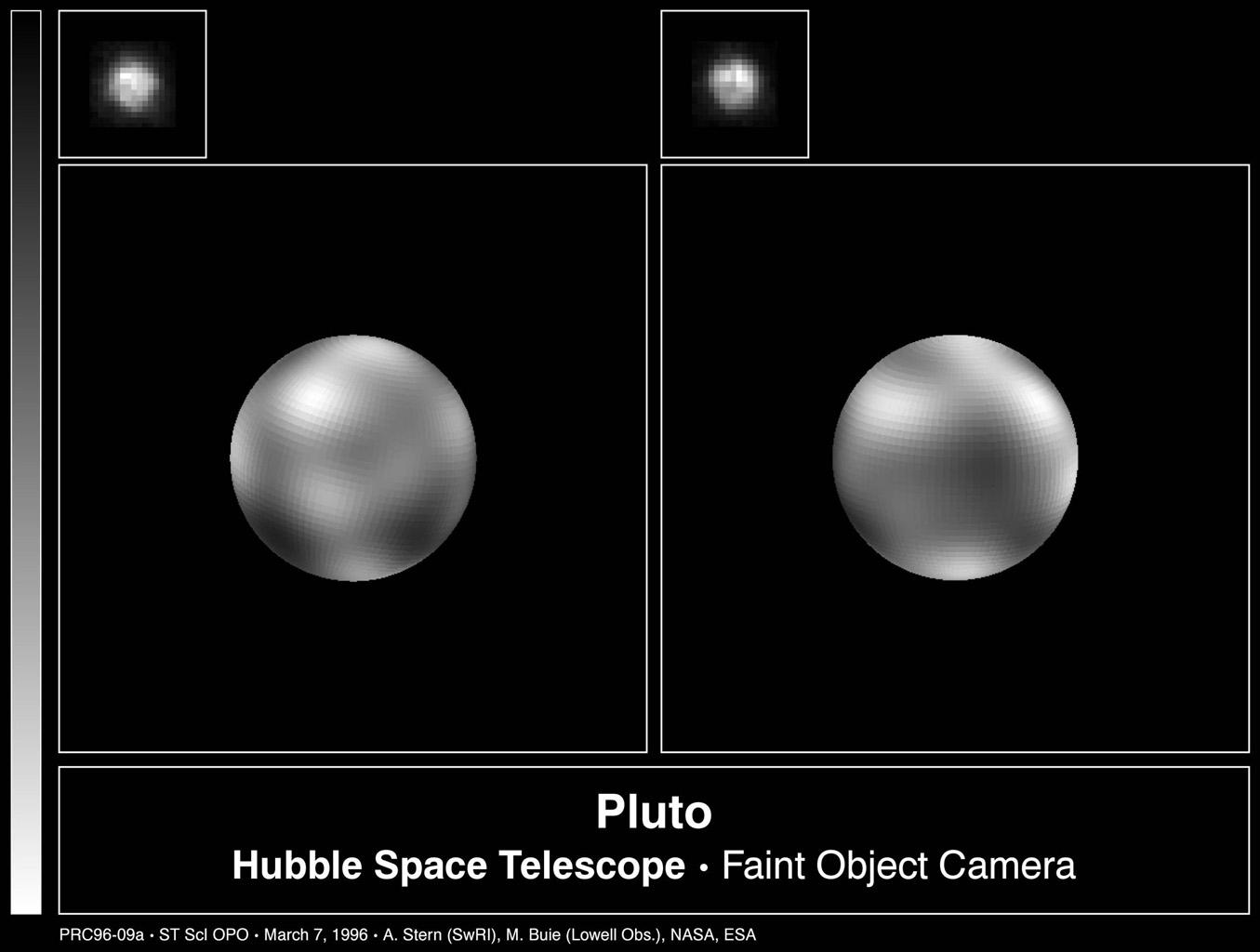 The never-before-seen surface of the distant planet Pluto is resolved in these NASA Hubble Space Telescope pictures, taken with the European Space Agency's Faint Object Camera (FOC) aboard Hubble.
