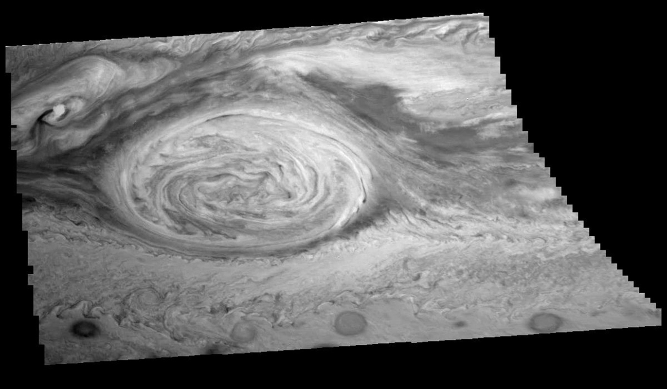 The mosaic of the Great Red Spot on Jupiter from NASA's Galileo orbiter was taken over an 80 second interval beginning at universal time 14 hours, 30 minutes, 23 seconds, on June 26, 1996.