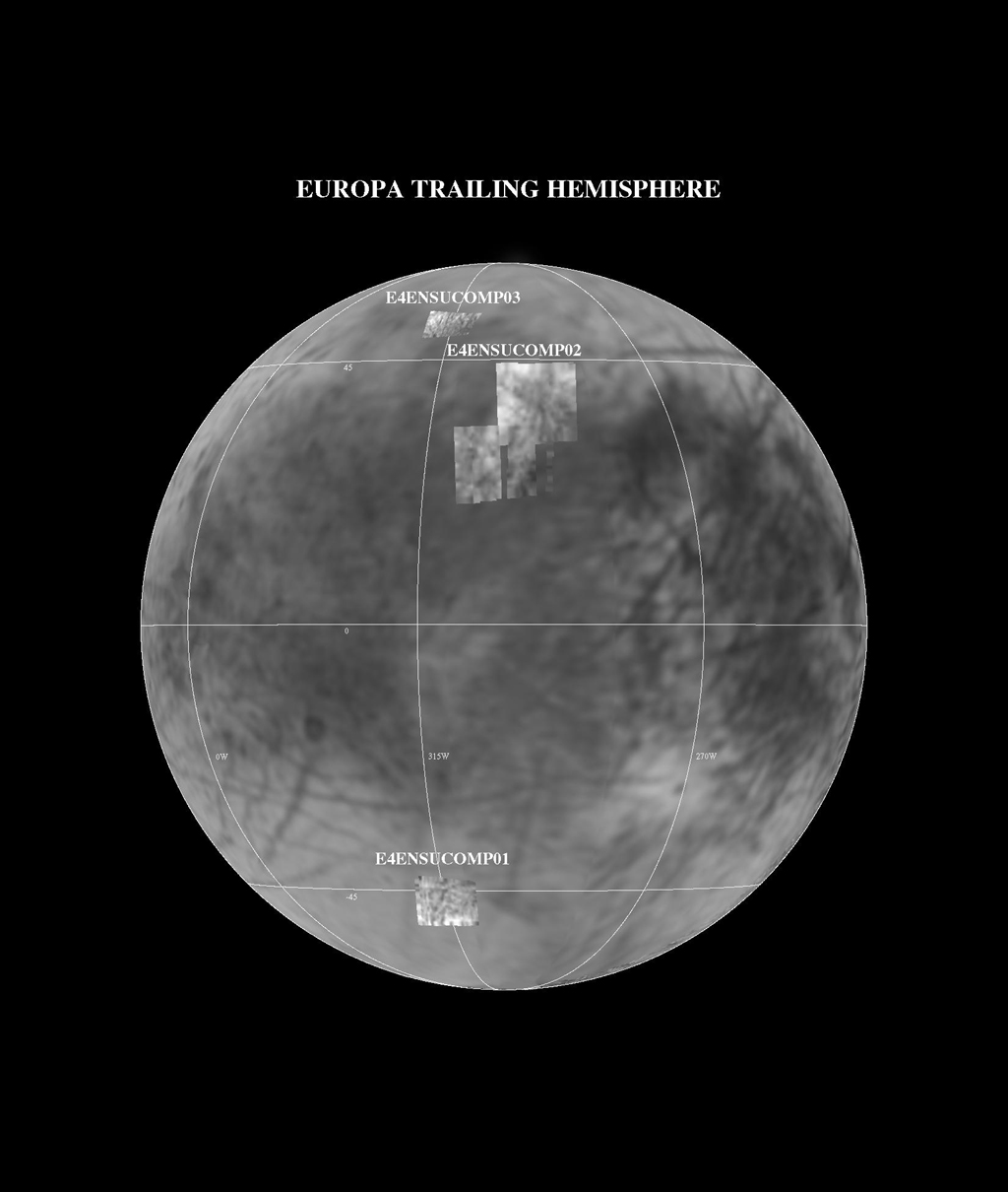 This image shows the Near Infrared Mapping Spectrometer (NIMS) observations of selected areas of Europa's trailing hemisphere during NASA's Galileo E4 encounter on 19 December 1996.