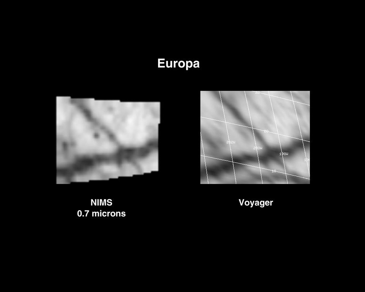 These observations of NASA's Voyager and Galileo's Near Infrared Mapping Spectrometer shows the interception of two lineas or fractures on the Northern hemisphere of Europa.