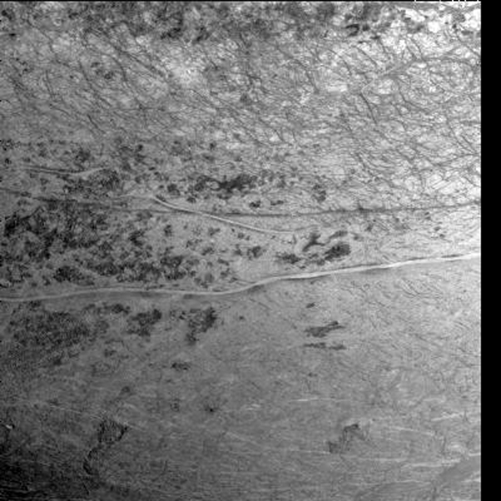 This image of Europa's southern hemisphere was obtained by the solid state imaging system onboard NASA's Galileo   spacecraft during its sixth orbit of Jupiter, taken on Feb. 20, 1997.