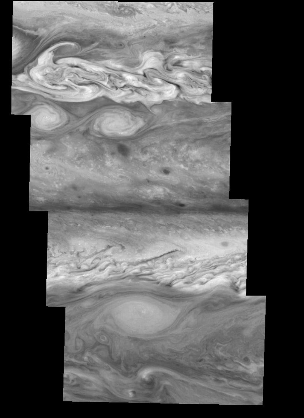 Jupiter's atmospheric circulation is dominated by alternating eastward and westward jets from equatorial to polar latitudes. This image was taken on April 3, 1997, by NASA's Galileo spacecraft.