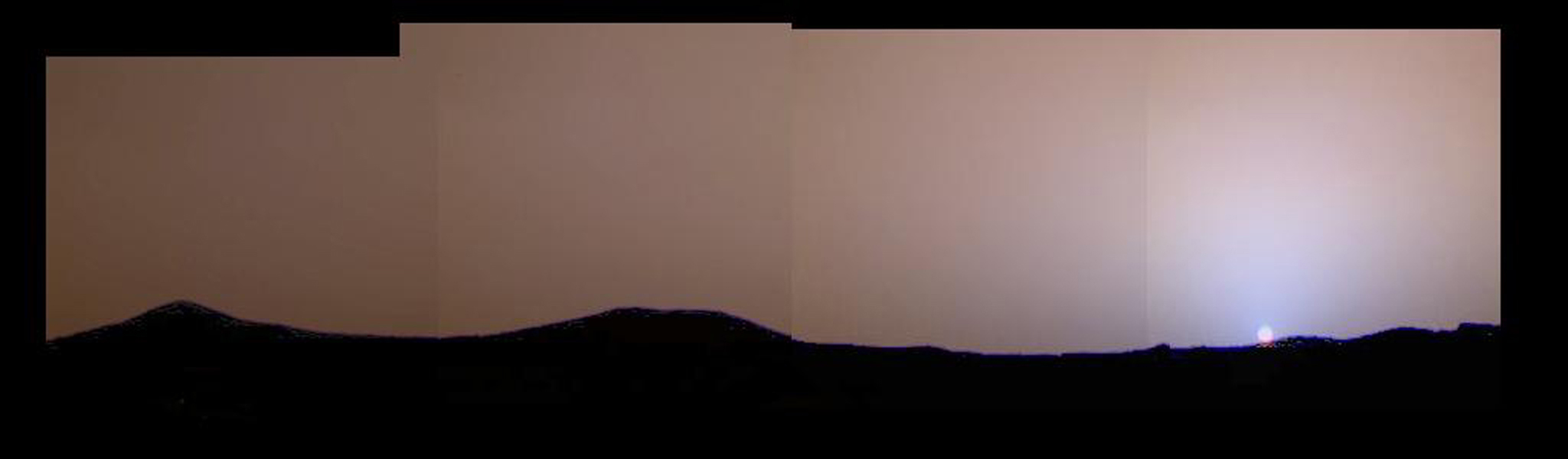 This image of the martian sunset from Sol 24 shows much more color variation than had previously been seen. This image was taken by NASA's Imager for Mars Pathfinder (IMP). Sol 1 began on July 4, 1997.