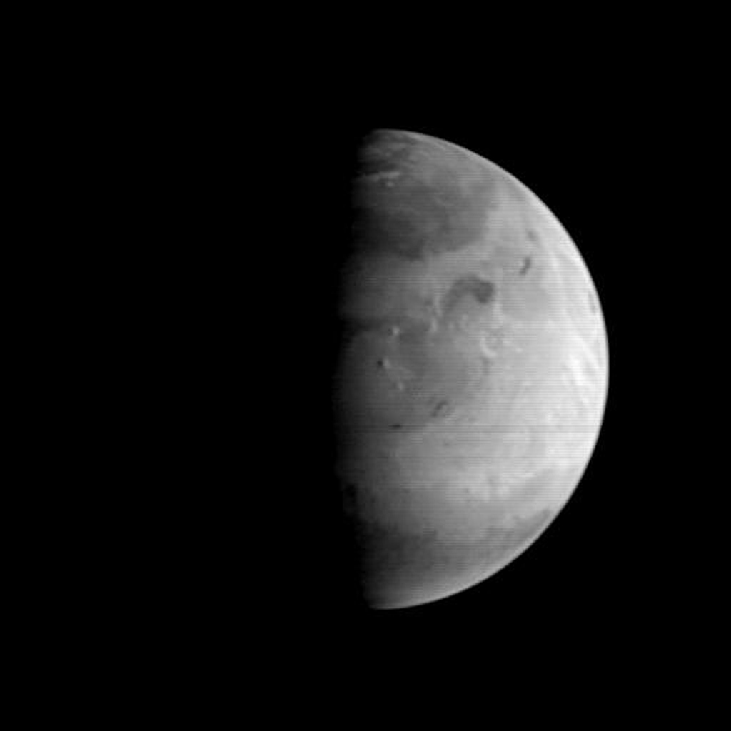 NASA's Mars Orbiter Camera (MOC) picture shows the Elysium region of Mars as it appeared from the Mars Global Surveyor (MGS) spacecraft on August 20, 1997.