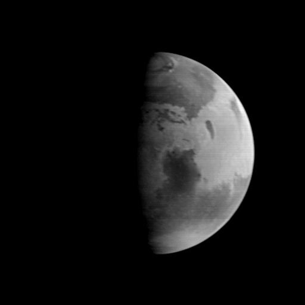 This image was acquired by NASA's Mars Global Surveyor (MGS) Mars Orbiter Camera (MOC) on August 20, 1997, when MGS was 5.51 million kilometers (3.42 million miles) and 22 days from encounter.