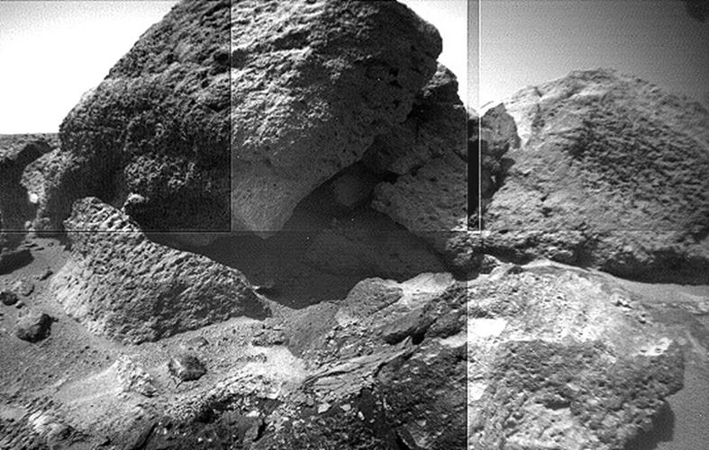 This image mosaic of part of the 'Rock Garden' was taken by NASA's Sojourner rover's left front camera on Sol 71. The rock 'Shark' is at left center and 'Half Dome' is at right. Sol 1 began on July 4, 1997.