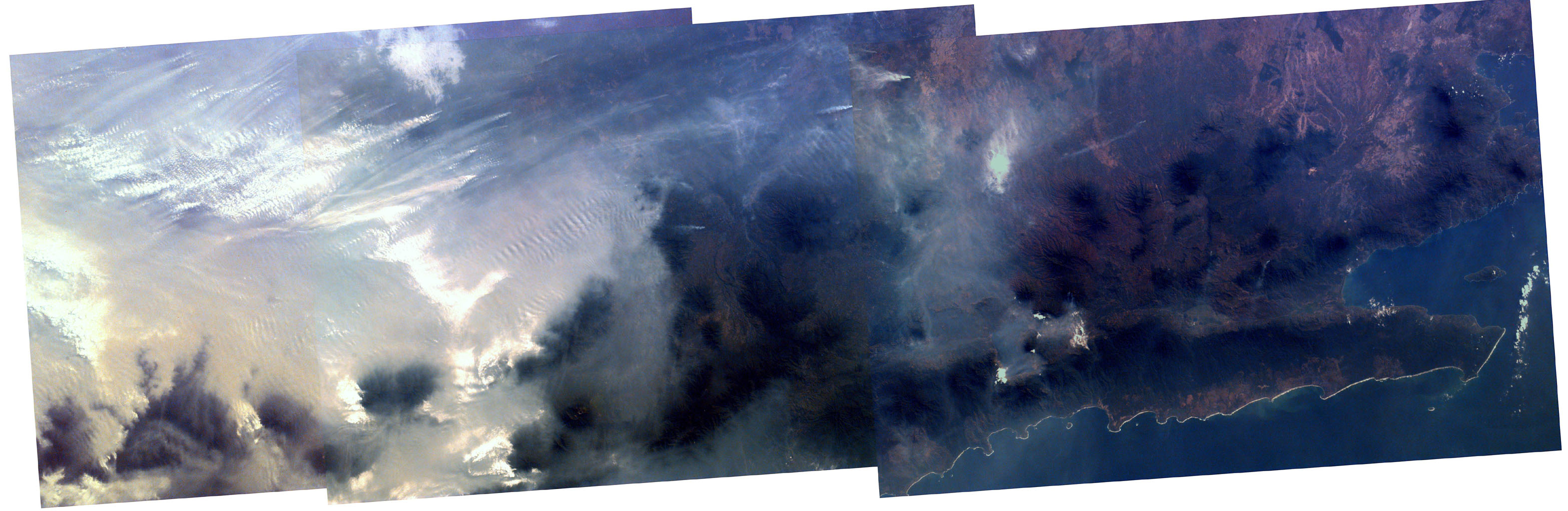 Middle school students across the country photographed the fires and smoke over southern Sumatra from a camera aboard the Space Shuttle Atlantis September 27, 1997.