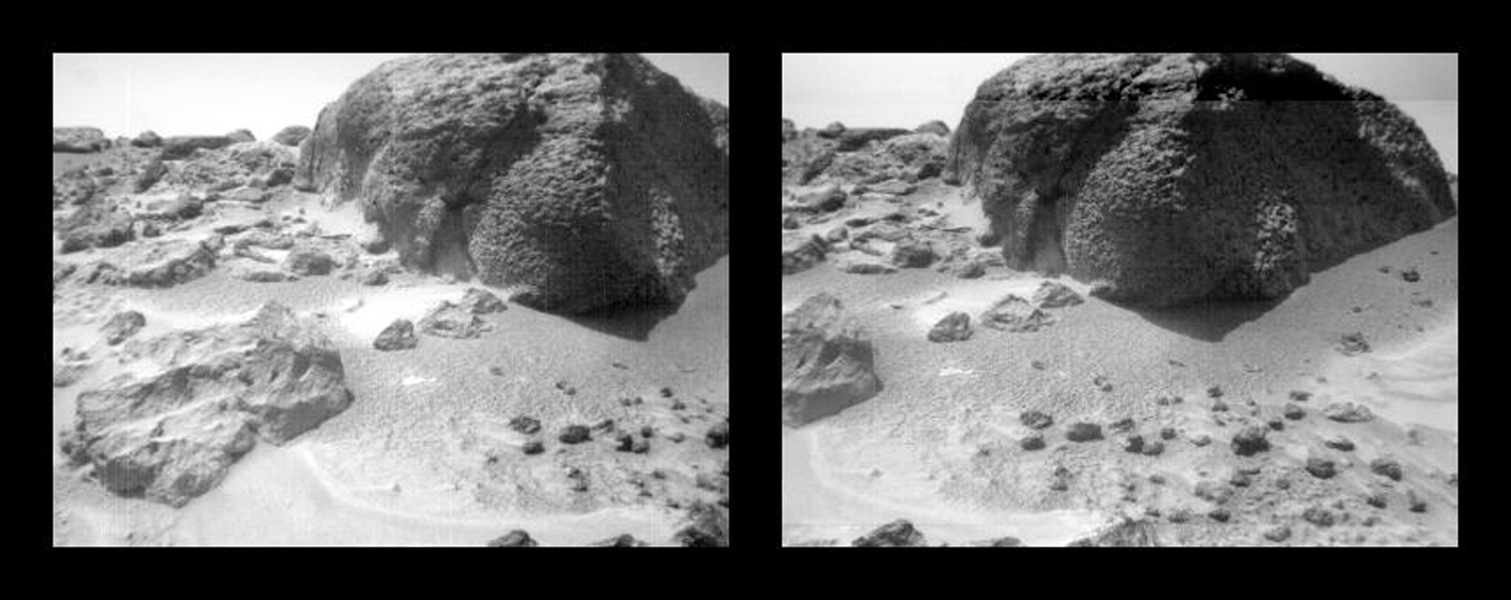 This stereo image pair of the rock 'Chimp' was taken by NASA's Sojourner rover's front cameras on Sol 72 (September 15). Fine-scale texture on Chimp and other rocks is clearly visible. Sol 1 began on July 4, 1997.