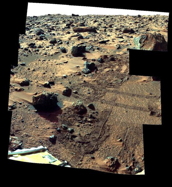 This image from NASA's Mars Pathfinder (MPF) shows important features around the rock nicknamed 'Barnacle Bill' in the left foreground.