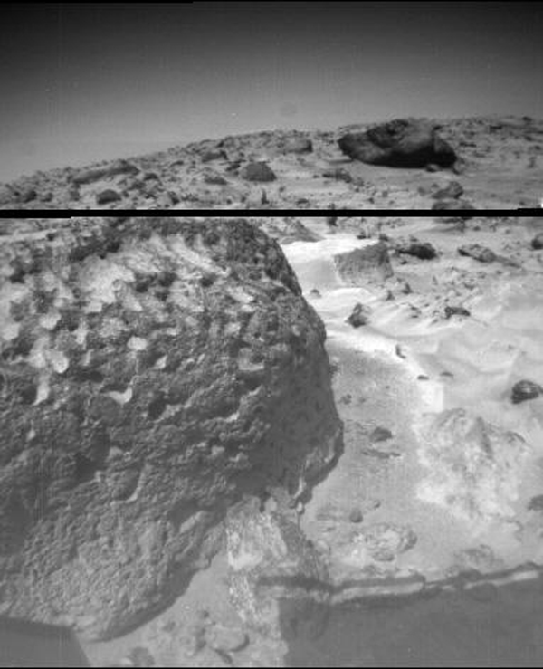 The rock 'Stimpy' is seen in this close-up image taken by NASA's Sojourner rover's left front camera on Sol 70 (September 13). Sol 1 began on July 4, 1997.