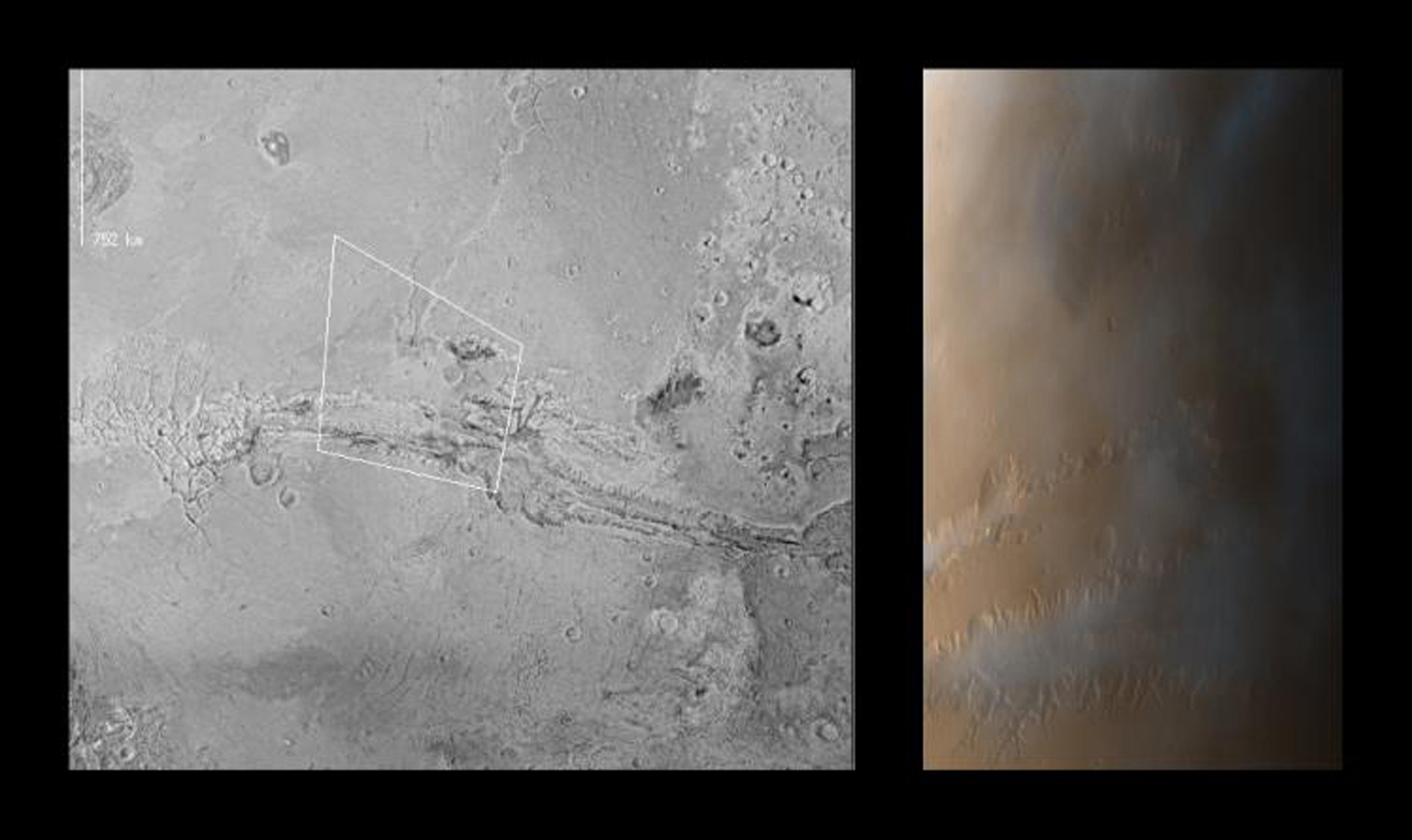 The large canyon system (Valles Marineris) spans this view from NASA's Mars Global Surveyor; chaotic terrain is seen at the far right and the eastern-most of the four large Tharsis volcanoes (Ascraeus Mons).