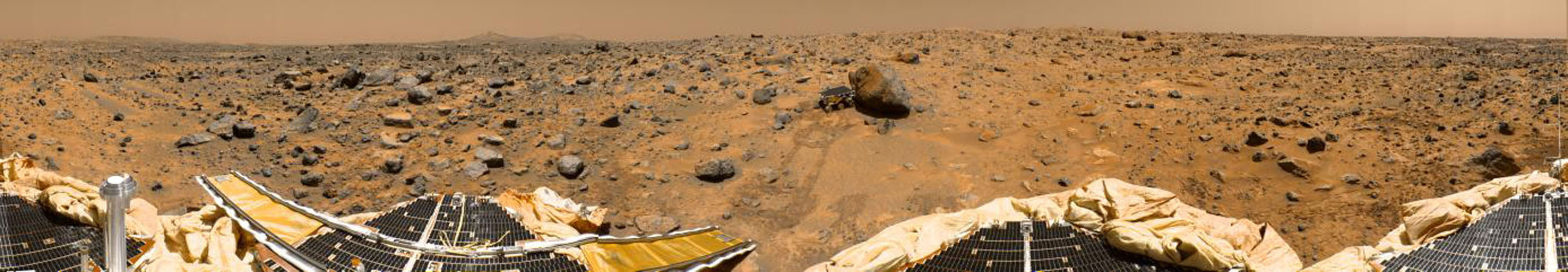 This is a 'geometrically improved, color enhanced' version of the 360-degree panorama heretofore known as the 'Gallery Pan,' the first contiguous, uniform panorama taken by NASA's Imager for Mars Pathfinder (IMP). Sol 1 began on July 4, 1997.
