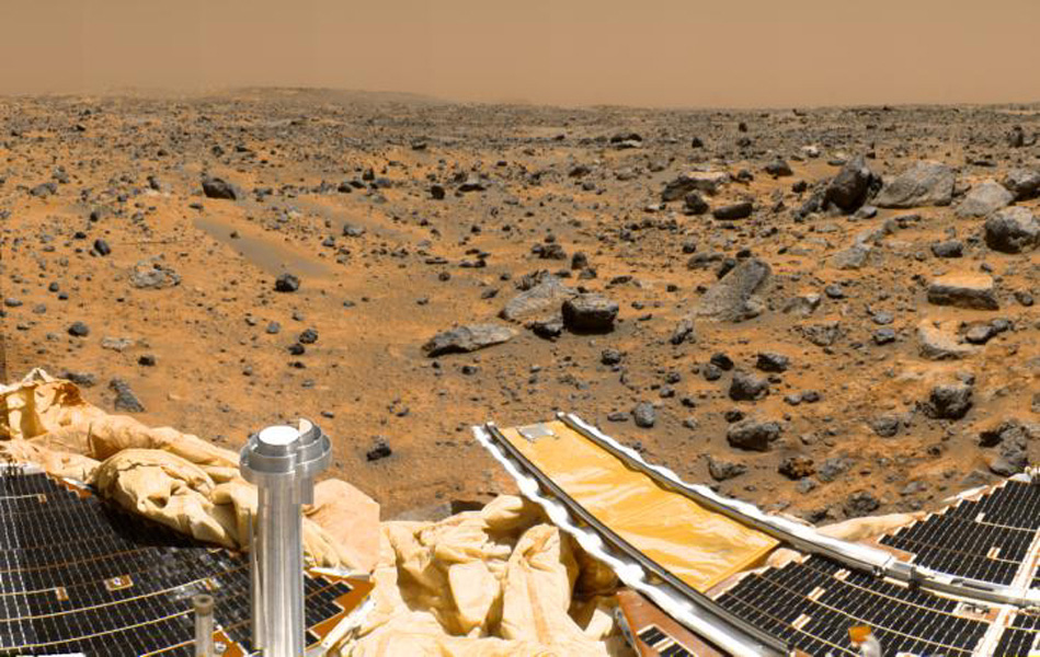 This is a sub-section of the 'geometrically improved, color enhanced' version of the 360-degree panorama heretofore known as the 'Gallery Pan,' taken by NASA's Imager for Mars Pathfinder over the course of Sols 8, 9, and 10. Sol 1 began on July 4, 1997.