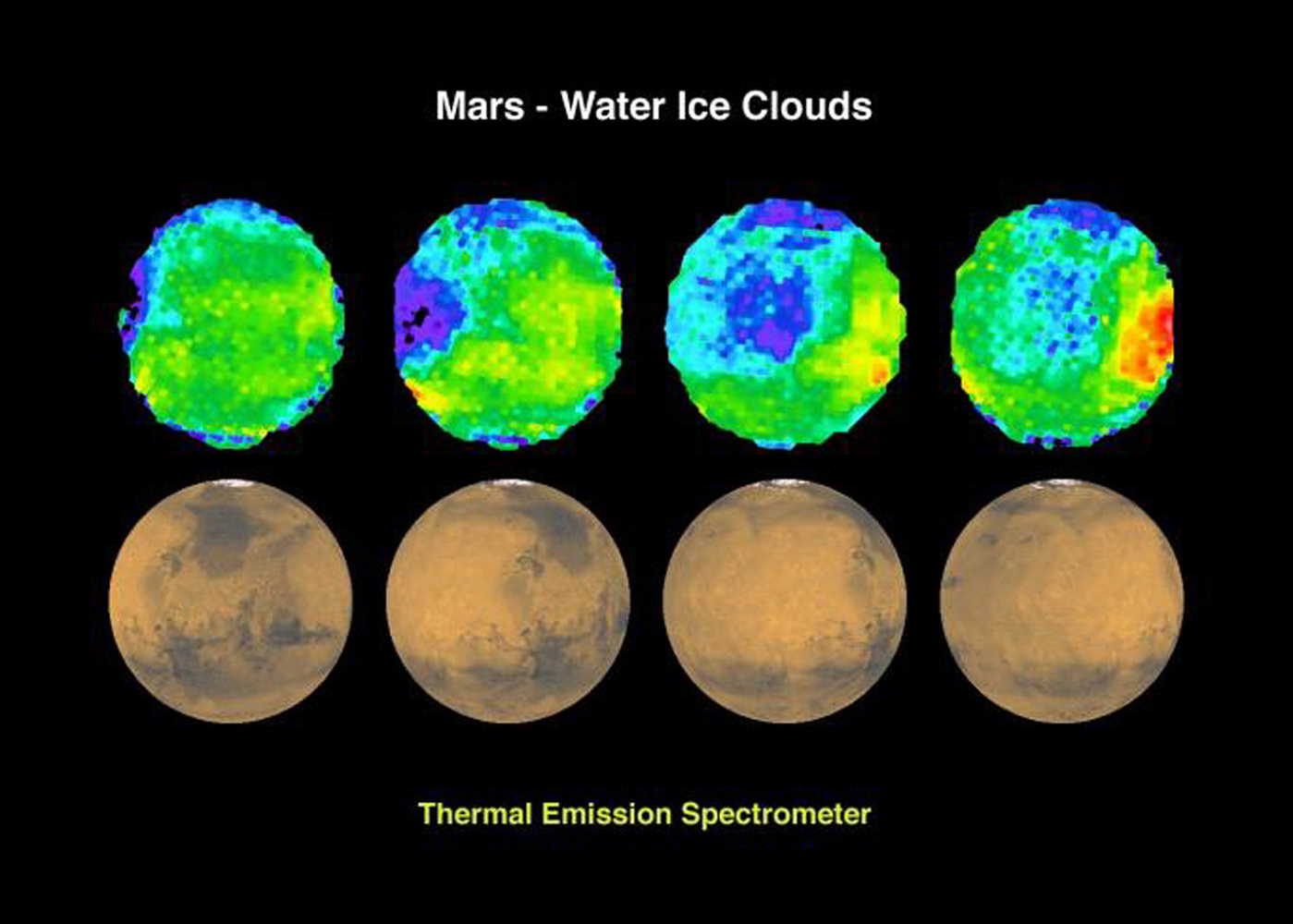 Water ice clouds on Mars are seen in this image from NASA's Mars Global Surveyor.