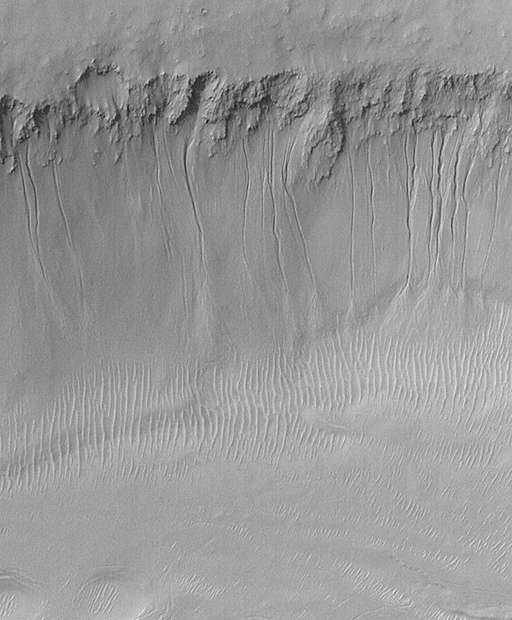 The high resolution view taken by NASA's Mars Global Surveyor on July 23, 2000 crosses one of the troughs of the Sirenum Fossae.
