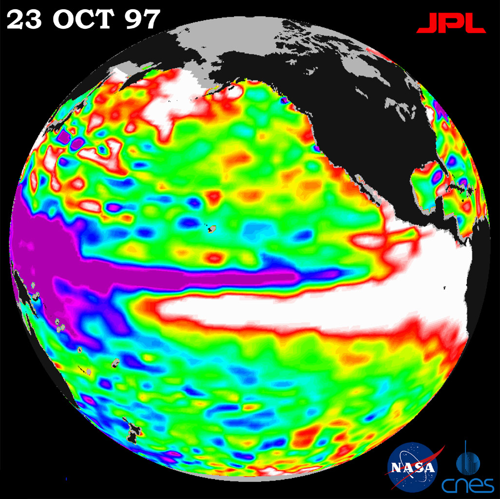 This image of the Pacific Ocean was produced using sea surface height measurements taken by NASA's U.S./French TOPEX/POSEIDON satellite.