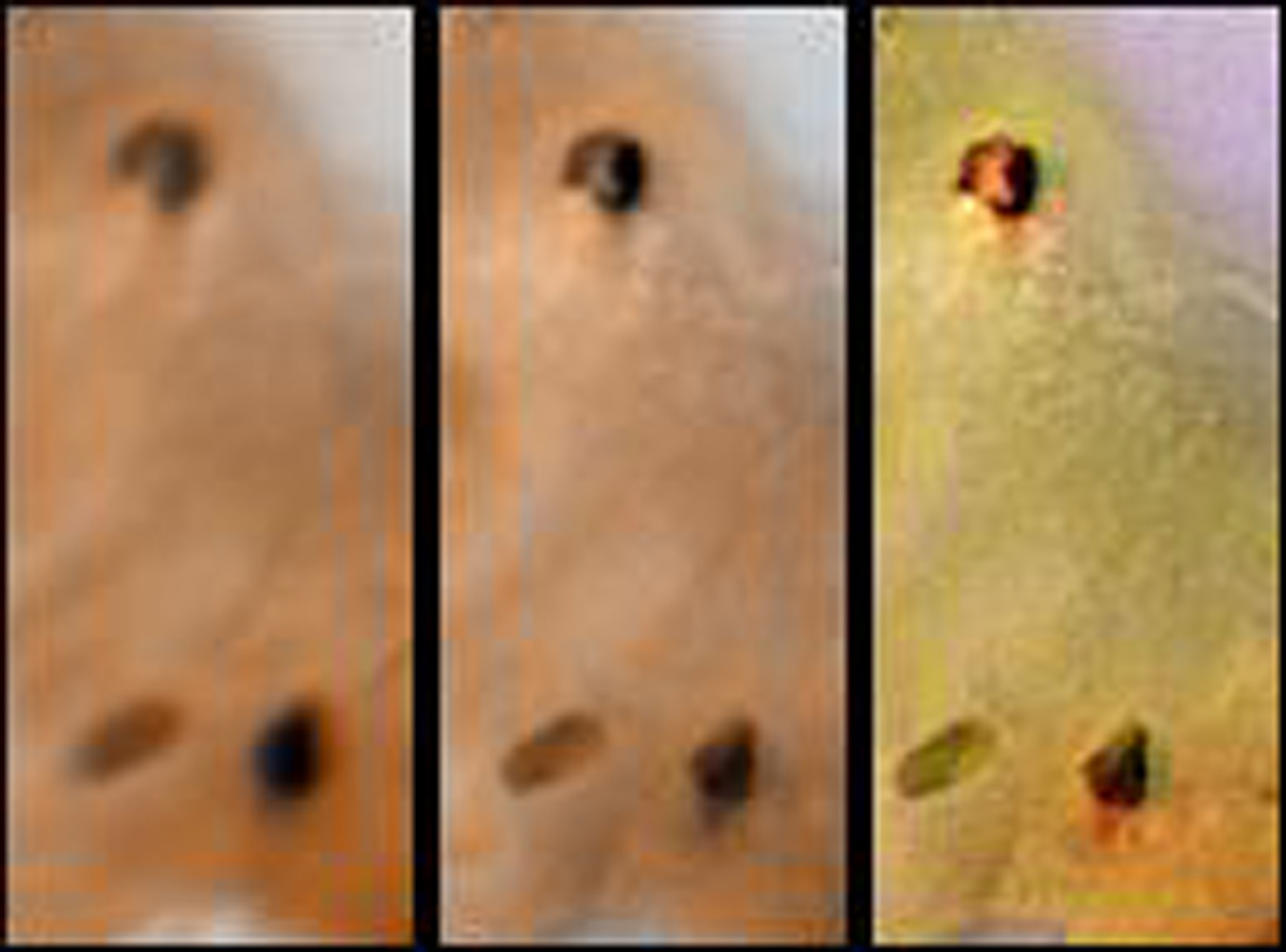 Detail of changes around two hotspots on Jupiter's moon Io as seen by NASA's Voyager 1 in April 1979 (left) and NASA's Galileo spacecraft on September 7th, 1996 (middle and right).
