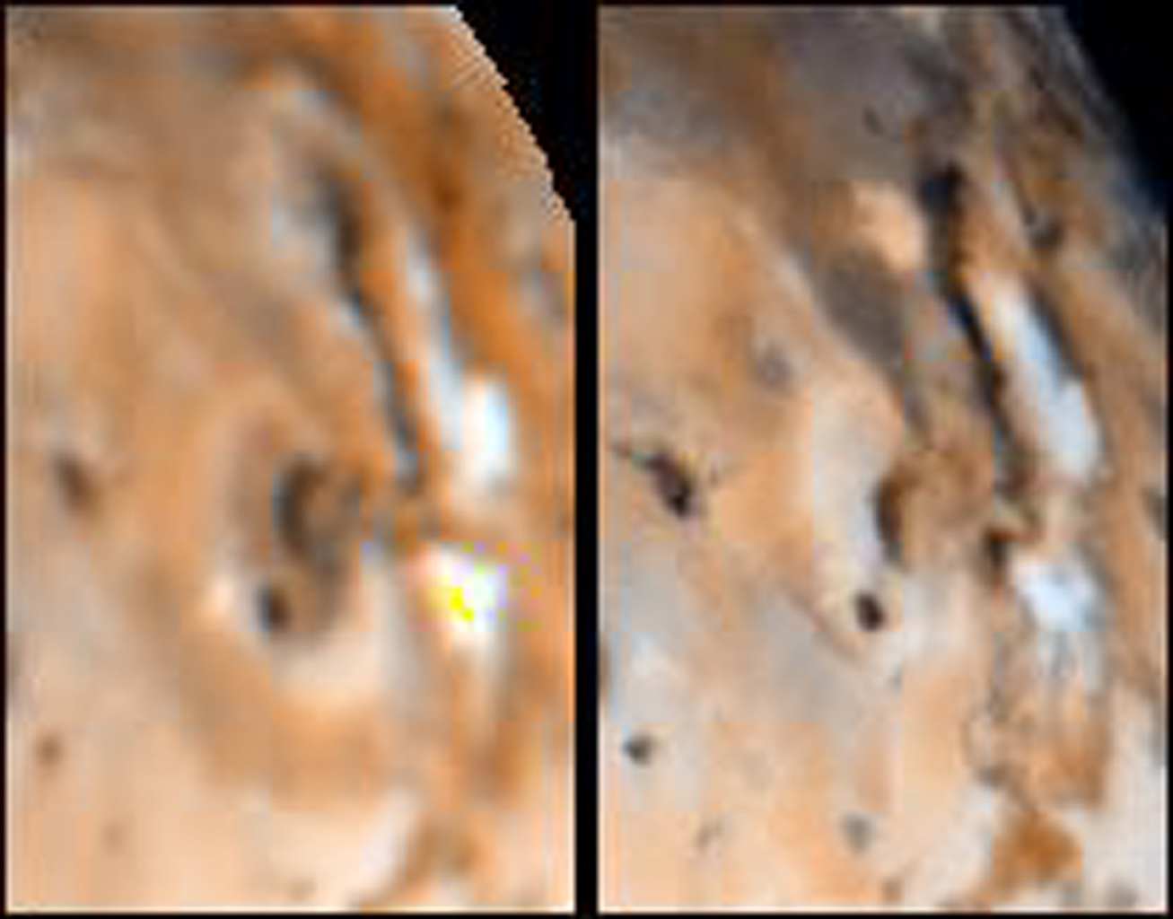 Detail of changes on Jupiter's moon Io in the region around Maui and Amirani as seen by NASA's Voyager 1 spacecraft in April 1979 (left frame) and NASA's Galileo spacecraft in September 1996 (right frame).